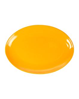 assiettes ovales 25,5x18 cm jaune melanine (15 unitÉ)
