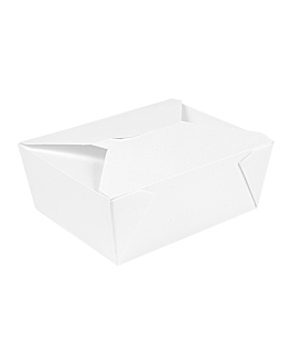 microwavable boxes rectangular 'thepack' 1350 ml 230 + 12pp gsm 15,2x12,1x6,5 cm white nano-micro corrugated cardboard (300 unit)