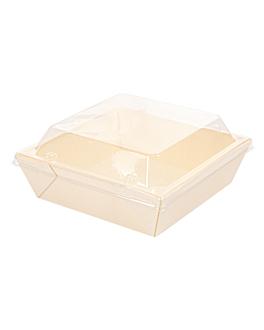 combo containers + pet lids 12x12x5,5 cm natural wood (200 unit)