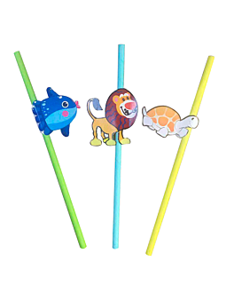 straight straws for kids Ø0,60x24 cm assorted paper (100 unit)