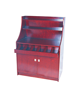 big cutlery and dinner service cupboard 100x55x141 cm reddish brown wood (1 unit)