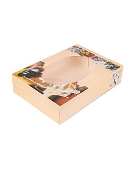 50 u. cartons automontables traiteur avec fenÊtre 35x25x8 cm quadrichromie carton (50 unitÉ)
