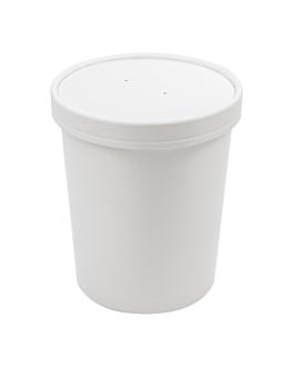 containers + lids 960 ml 18pe + 340 + 18 pe gsm Ø11,7/9,2x13,5 cm white cardboard (250 unit)