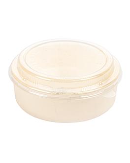 combo containers + pet lids Ø15,5x5,5 cm natural wood (100 unit)