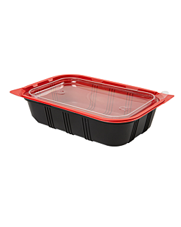 microwaveable containers individual meal 21,5x14,5x5 cm black pp (400 unit)