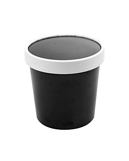 contenitori con coperchi 360 ml 18pe + 340 + 18 pe g/m2 Ø9/7,2x8,4 cm nero cartone (250 unitÀ)