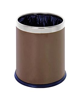 room paperbin, round 'deluxe' 9 l Ø 22,5x27 cm brown steel (1 unit)