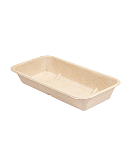 trays 'bionic' 500 ml 20,9x10,7x3,5 cm natural bagasse (400 unit)