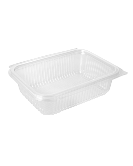 salad container with hinged lid 750 ml 18,8x14,3x5,2 cm clear pla (400 unit)