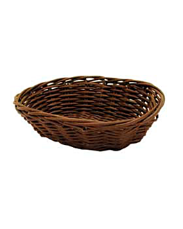 oval baskets imitation wicker 17x13x5 cm natural pp (12 unit)