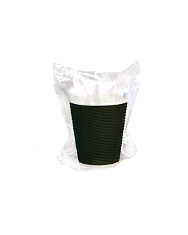double wall cups, corrugated, indiv. wrapped 360 ml 300 + 250 + 18 pe g/m2 Ø 9x11 cm black cardboard (1000 unit)