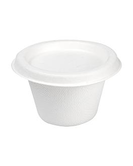 mini terrine + coperchi 'bionic' 120 ml Ø7,4x5,1+0,7 cm bianco bagassa (800 unitÀ)