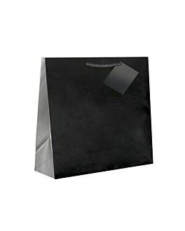 shopping bags, cord handle 150 g/m2 19+10x27 cm black (100 unit)