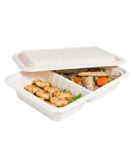 2 compartments trays + lid 'bionic' 800 ml 23,3x14,6x6 cm natural bagasse (400 unit)