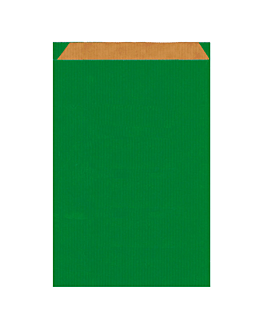 sacchetti piani 60 g/m2 19+8x35 cm verde kraft a costine (250 unitÀ)