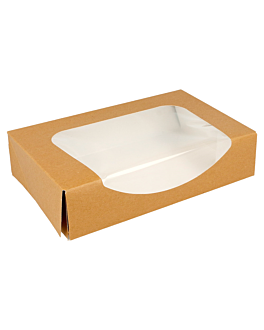 sushi boxes+frontal 300 gsm 20x12x4,5 cm brown cardboard (400 unit)
