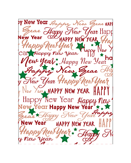 bolsas planas 'happy new year' 60 g/m2 26+8x35 cm blanco celulosa (250 unid.)
