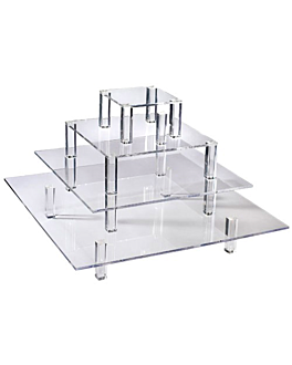 display 4 piani buffet 50/40/30/20 cm trasparente acrilico (1 unitÀ)