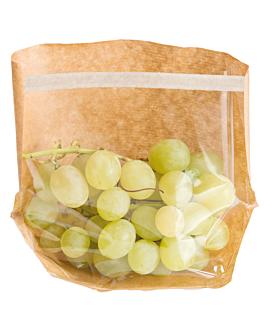 sacos com base e janela 'turtle pack' 50 g/m2 + 15 pp 20x15x4/4 cm natural kraft (100 unidade)