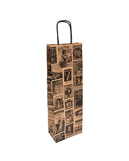 sacos sos com asas 1 garrafa 'bacchus' 100 g/m2 14+8x40 cm natural kraft (250 unidade)