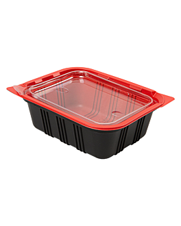microwaveable containers individual meal 15,5x12x5,1 cm black pp (400 unit)