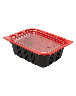 bandejas microondables comida individual 15,5x12x5,1 cm negro pp (400 unid.)