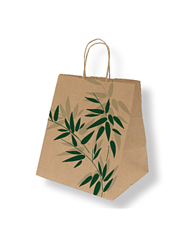 "bolsas sos con asas ""traiteur"" 'feel green' 90 g/m2 26+20x27 cm natural kraft (250 unid.)"