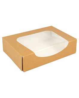 sushi boxes+frontal 300 gsm 17,5x12x4,5 cm brown cardboard (400 unit)