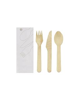 set tenedor, cuchillo, cuchara enfundados 'makan' 16 cm natural madera (100 unid.)