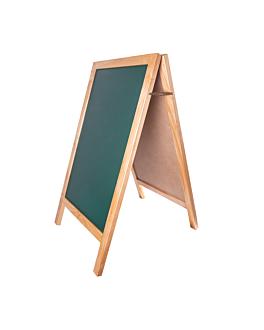 pizarra en Ángulo 2 caras 65x80x115 cm verde madera (1 unid.)