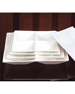 square plates 4 compartments 24x24 cm white porcelain (12 unit)