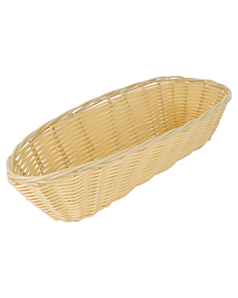 cestas sÍmil mimbre alargadas 33x13x7,5 cm natural pp (12 unid.)