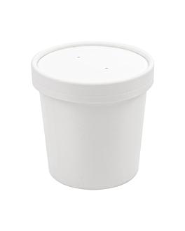 tarrines amb tapes 360 ml 18pe + 340 + 18 pe g/m2 Ø9/7,2x8,4 cm blanc cartrÓ (250 unitat)