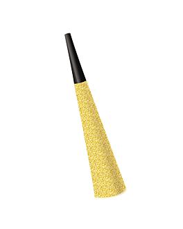 6 u. trompetas Ø 3,7x19 cm dorado cartoncillo (1 unid.)