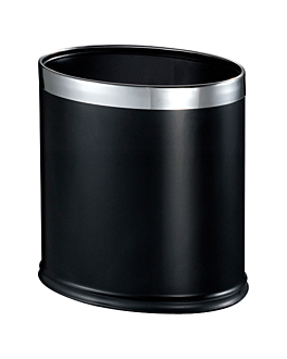 room paperbin oval 'deluxe' 9 l 26x19x27 cm black stainless steel (1 unit)