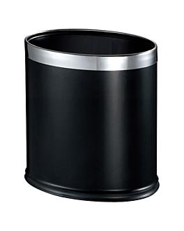 papelera habitaciones oval 'deluxe' 9 l 26x19x27 cm negro inox (1 unid.)