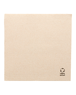 ecolabel napkins double point 'paper pack' 19 gsm 39x39 cm natural recycled tissue (1200 unit)