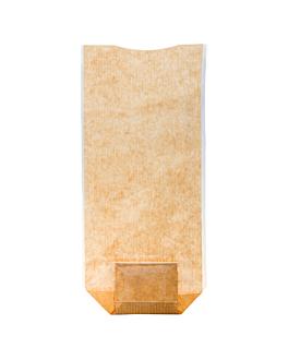 sacos com base e janela pp 14x30,5 cm natural kraft (100 unidade)