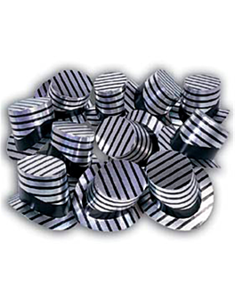 sombreros de copa 28,5x15,5 cm plateado cartoncillo (12 unid.)