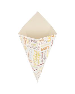 coni per fritti 'parole' 250 g 250 g/m2 16x27 cm bianco cartone (1200 unitÀ)