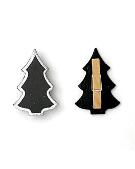 6 u. mini ardoises forme sapin 6x4 cm noir (1 unitÉ)
