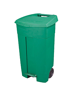 push pedal container with lid, 2 wheels 130 l 55x37x84 cm green pehd (1 unit)