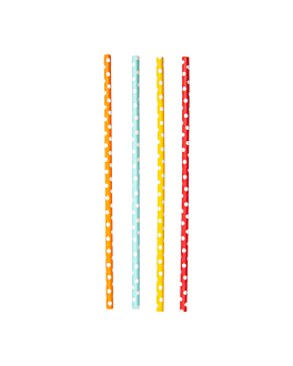 straight dotted straws Ø0,60x21 cm assorted paper (6000 unit)