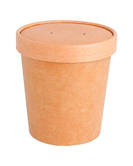 containers + lid 480 ml 340 + 18 pe g/m2 Ø 9,8/7,5x10 cm natural kraft (250 unit)