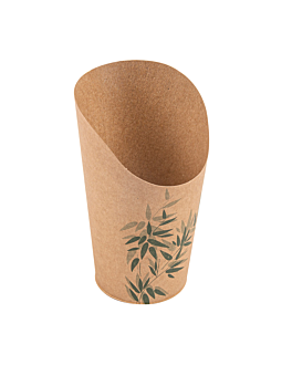 open cups chips 'feel green' 16 oz - 480 ml 200 + 25pe gsm Ø8,5x13,5 cm brown cardboard (50 unit)