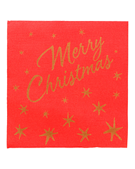 "serviettes ""double point"" 'merry christmas' 18 g/m2 40x40 cm rouge ouate (1200 unitÉ)"