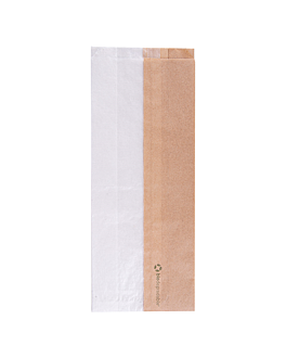 sandwich bags with eco window 'corner window' 40 gsm 12+6x30 cm natural kraft (250 unit)