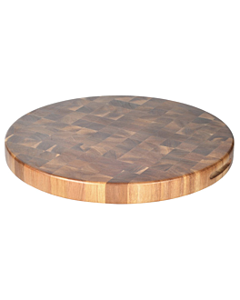 round presentation tray Ø 40,6x3,8 cm natural wood (3 unit)