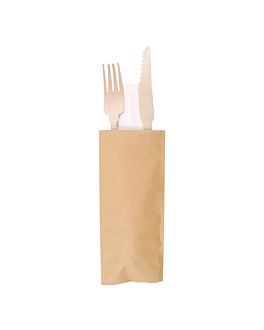 sets fork+knife+napkin 'classic' 20 cm natural wood (100 unit)