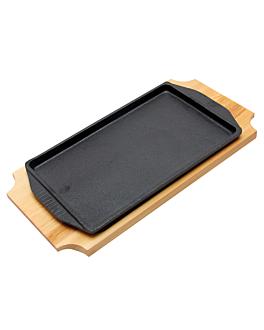 piatto contadino + base di legno 31x18 cm nero ferro (8 unitÀ)